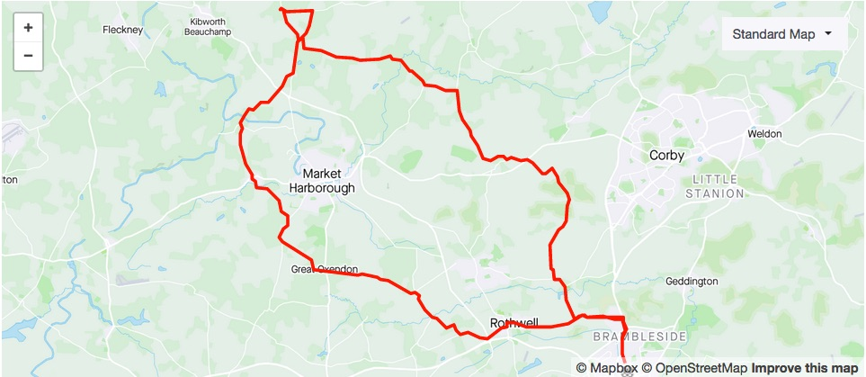 38.8 mile anti-clockwise loop to Mint & Ginger Coffee House