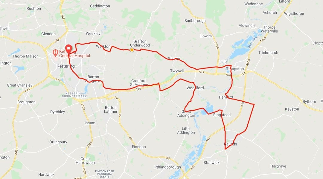 28.4 mile clockwise loop to Water Mill Tea Rooms at Woodford Mill
