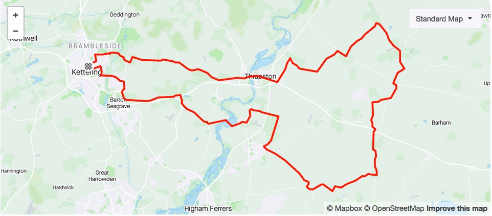 46.9 mile clockwise loop to Water Mill Tea Rooms at Woodford Mill