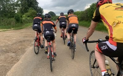 Social 33mile in sunshine and showers, a fall, a puncture and cake!